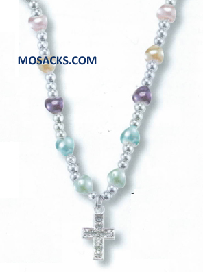 "Multi Color Heart Shaped Faux Pearl 16"" Necklace with Silver Seed Beads and Silver Cubic Zirconia Cross 12-1729/606"