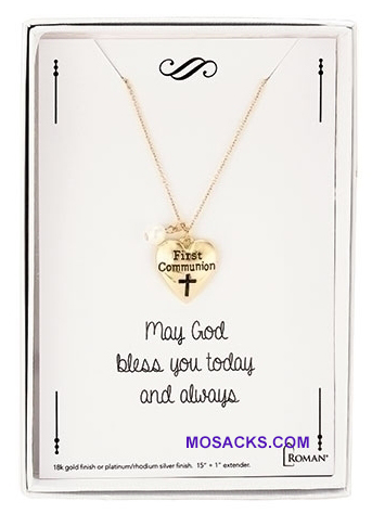 Communion Necklace with Heart charm in Gold 12777