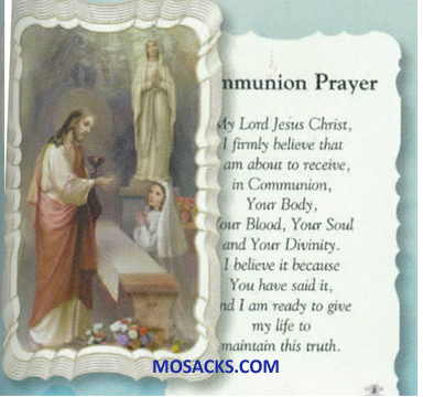 Communion Prayer Girl Scallop Edge Paper Holy Card 12G50-678