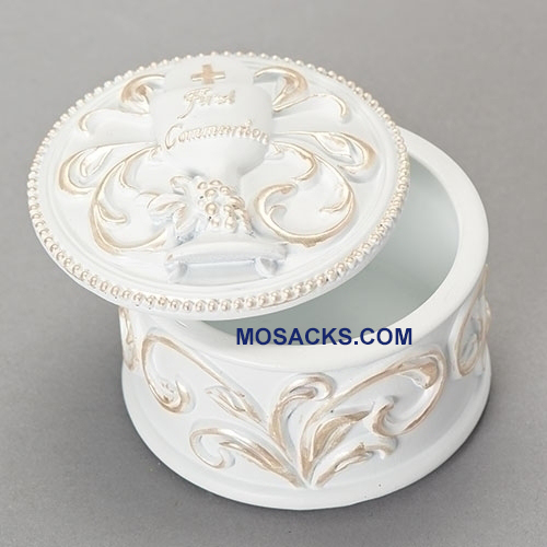 First Holy Communion Rosary Box in Resin-Stone 20263