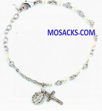 Communion Swarovski Rosary Bracelet 4mm Off White Pearl Bead 12-BX1351BG