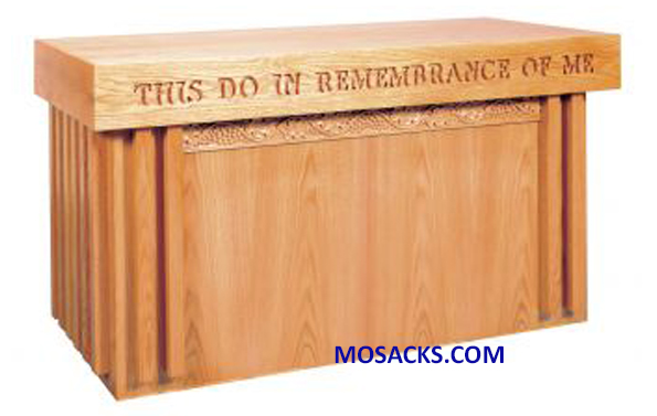 "FREE SHIPPING on Communion Table Wood with open back and Grapevine Band design 60"" wide x 24"" deep x 32"" high 40-2161SD"