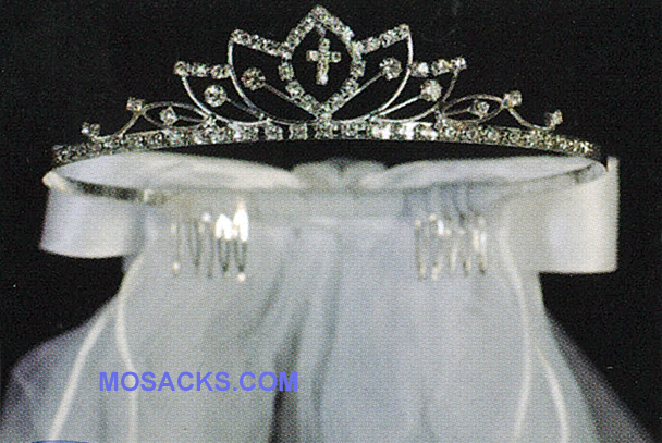 "Communion 24"" Veil on Rhinestone Tiara with satin bow at the back-T-812"