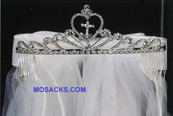 "Communion 24"" Veil on Rhinestone Tiara with satin bow at the back-T-82"