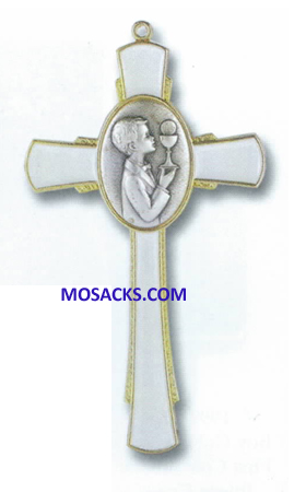 "Communion White Enamel  with Silver and Gold Boy 5"" Wall Cross 12-2541-670"