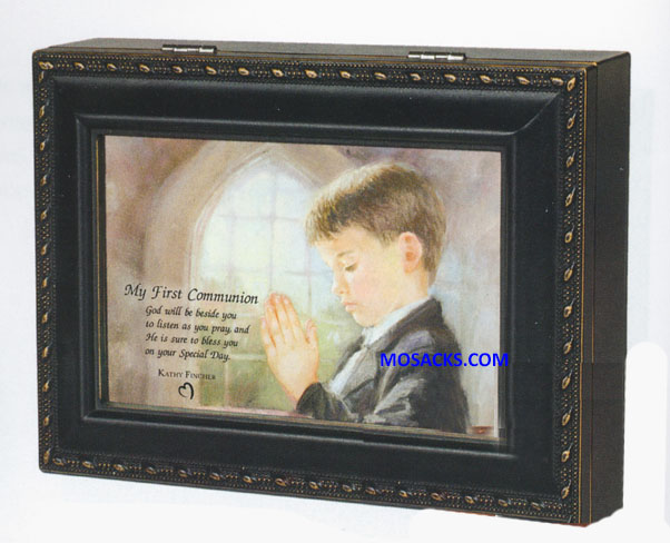 Cottage Garden Communion Boy Music Box MBC7018SDB