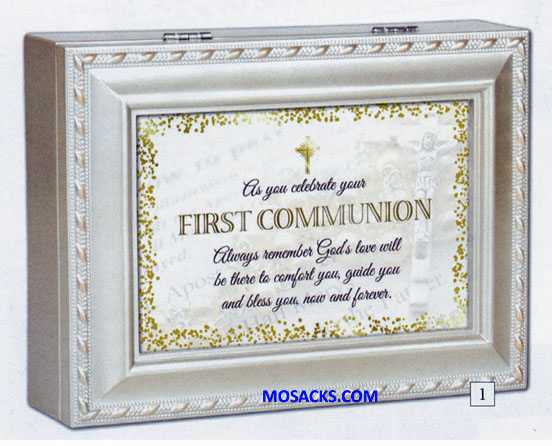 "Cottage Garden Communion Music Box plays Friend in Jesus and is 8"" x 6"" x 2.25""  Cottage Garden Communion Music Box MB2135SC"
