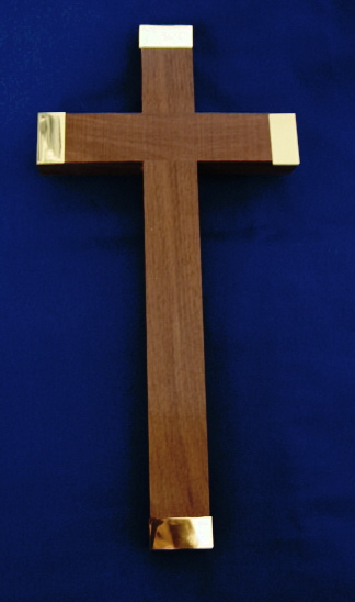 12 inch Wood Cross With Brass Tips X540