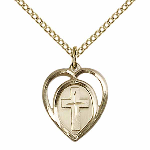 "Cross Heart 12 KT Gold Filled Medal 5/8""-4132GF/18GF"