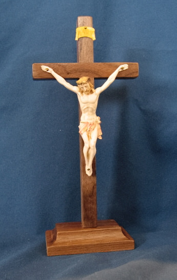 "Crucifix, Standing 9"" Walnut Cross with Fontanini Corpus #M340"