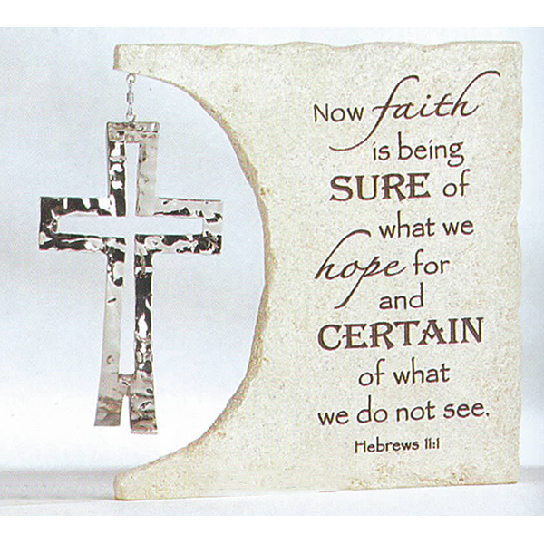"Dimensions of Christ Table Plaque with Dangle 6.5"" w 2.75""D, 6""H 64085"