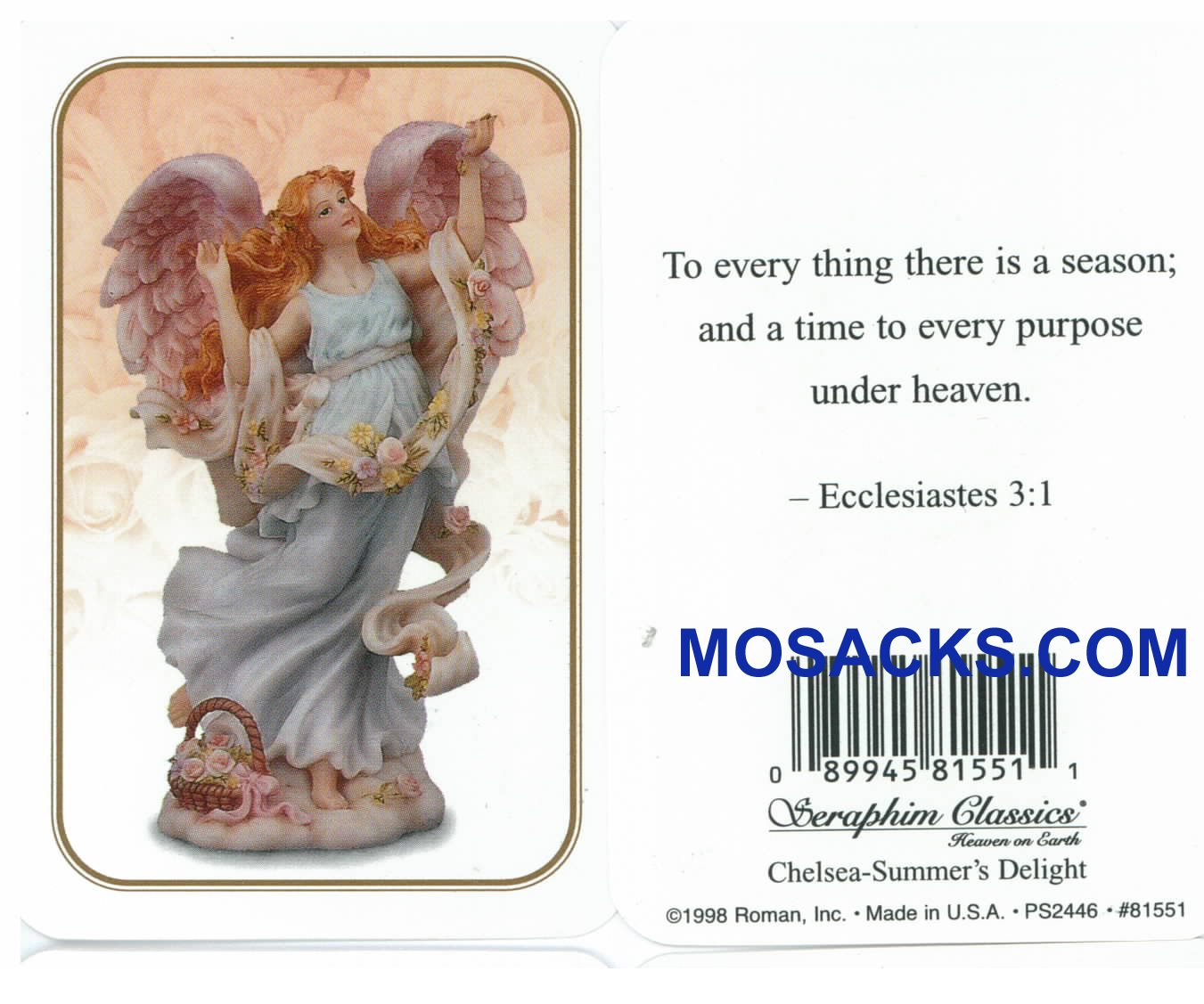 Ecclesiastes 3:1 Seraphim Angel Holy Card-81551