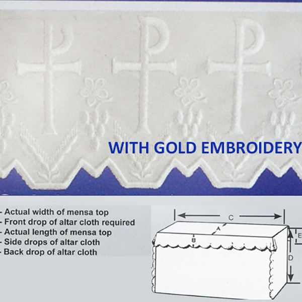 Embroidered Chi Rho Polyester Altar Cloth Gold Silk Embroidery-8093