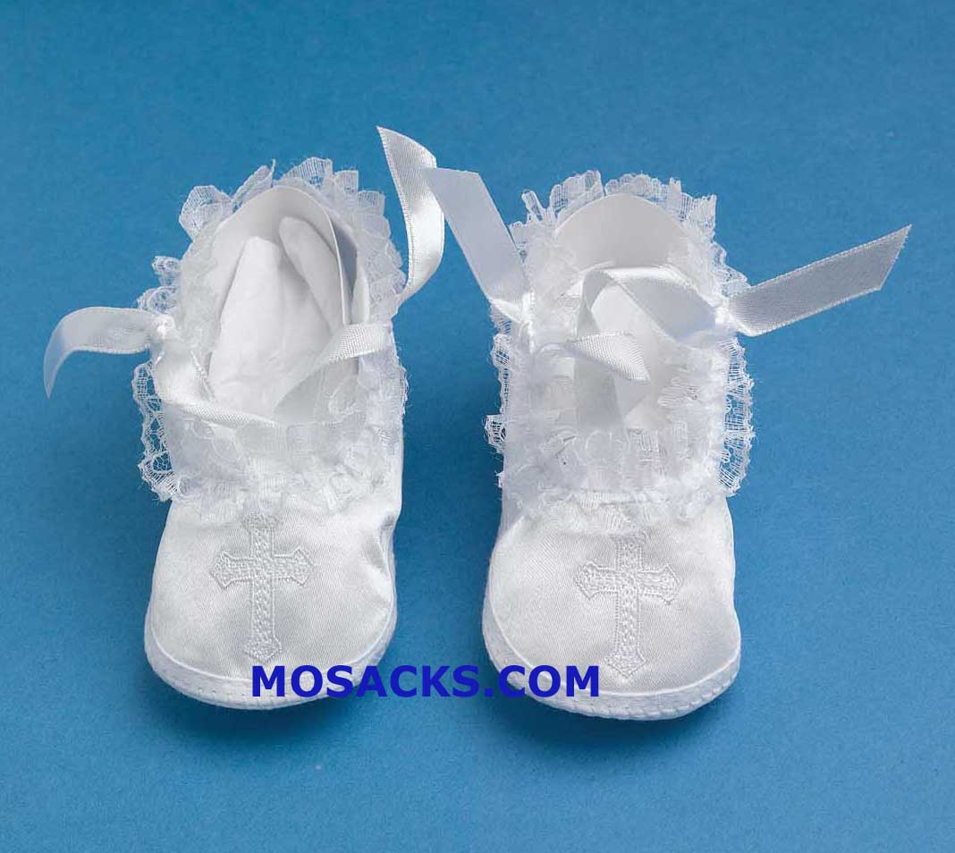 Embroidered Cross Girl's Christening Shoes 204-1322