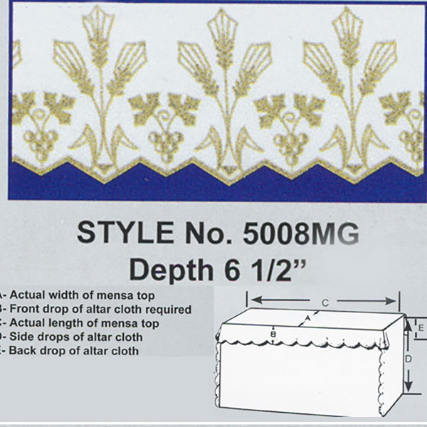 Embroidered Grape Wheat Polyester Altar Cloth Gold Metallic Lame-5008MG