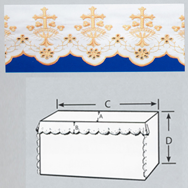 Embroidered 100% Pure Linen Altar Cloth with Gold Silk Cross Embroidery-7007