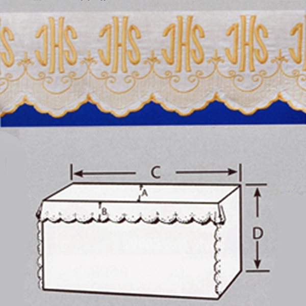 Embroidered 100% Pure Linen Altar Cloth with Gold Silk IHS Embroidery-1820