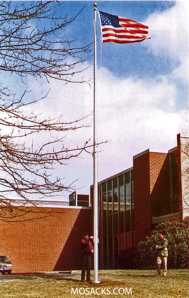 Commercial 25' Alum Satin Flagpole, Ext. Halyard