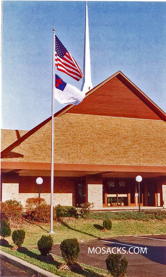 Residential 20' Alum Satin Flagpole, Ext. Halyard