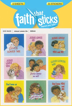 Faith That Sticks Jesus Loves Us -93544 includes 6 sticker sheets