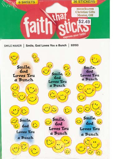 Faith That Sticks Smile God Loves You a Bunch-93193 includes 6 sticker sheets