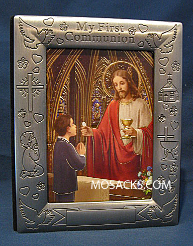 My First Communion Pewter Boy Frame and Photo Album 103-301