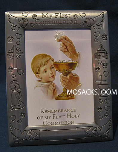 "My First Communion Pewter 5"" x 7"" Boy Photo Frame 102-391; MCF-670"
