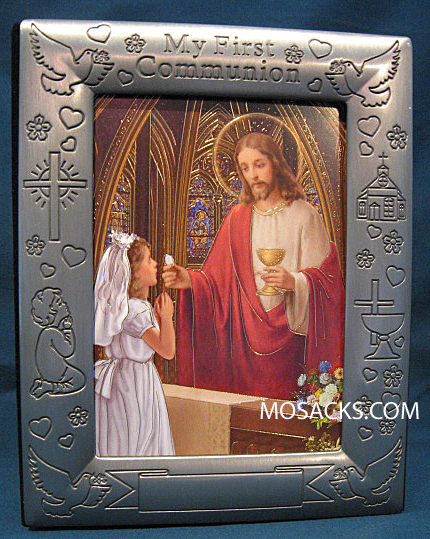My First Communion Pewter Girl Cover Framed Photo Album 103-304