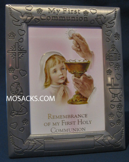 "My First Communion Pewter 5"" x 7"" Girl Photo Frame 102-390; MCF-671"