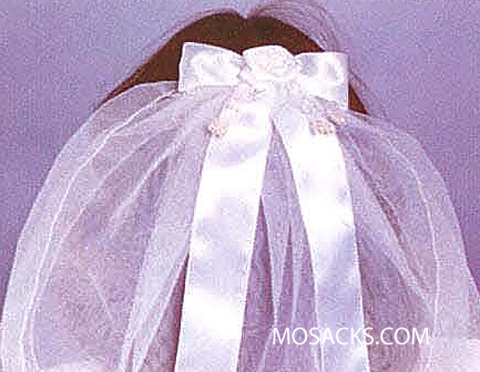 First Communion Veil with Bow and Flower 23985