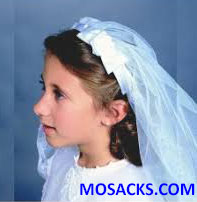 First Communion Veil with Floral Bow on Headband 23983