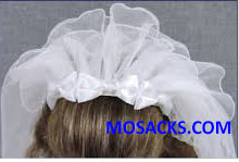 "22"" First Communion Headband Style 3-Tier Veil features Bow and Pearl accents 23982"