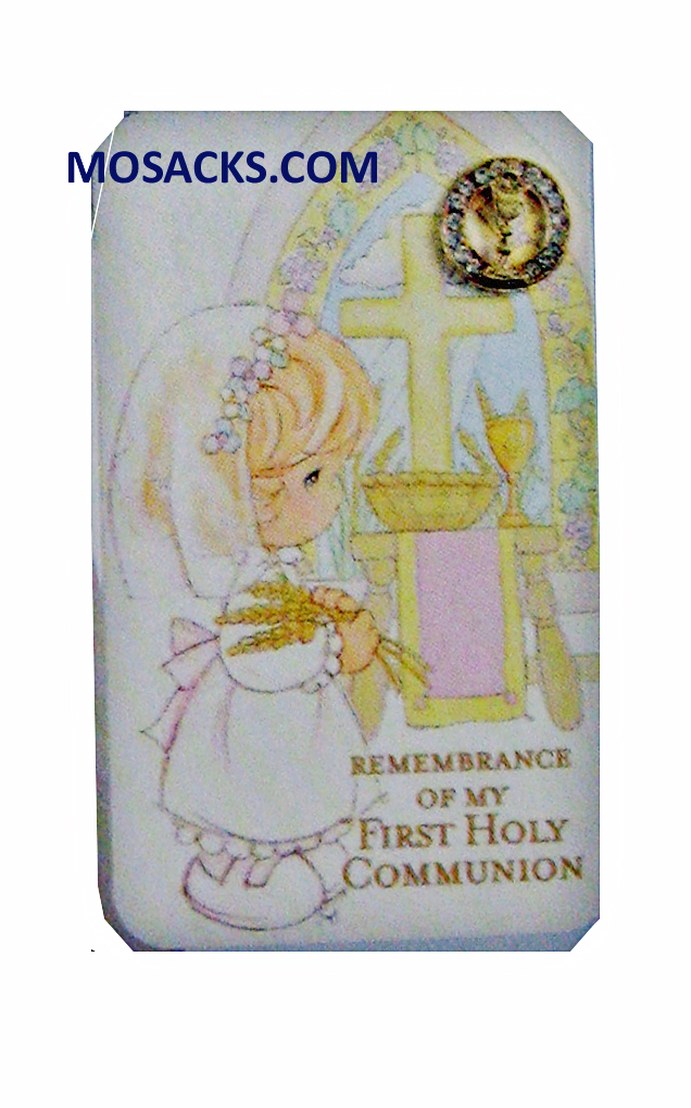 First Communion PM Pin Prayer Card Girl - 62880G