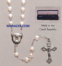 "First Communion Heart Shaped Pink Heart Bead Rosary by Roman Inc. is an 18"" long rosary with 6mm Heart Shaped Pink Faux Pearl Beads made of Glass  40127 First Communion Pink Heart Rosary-40127"
