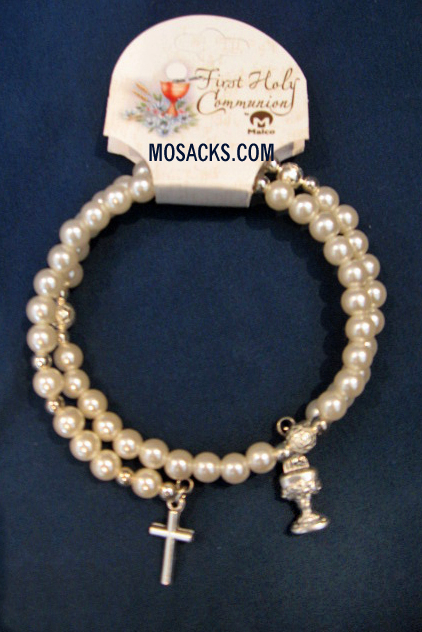 First Holy Communion Rosary Wrap Bracelet #4865715