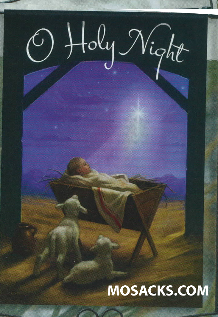 "Flagtrends by Carson Baby In The Stable Flag 13"" x 18"" Double Sided Garden Flag 480-46000   O Holy Night Decorative Christmas Flag with Baby Jesus in the Manger in the Stable with two Lambs is readable from both sides"