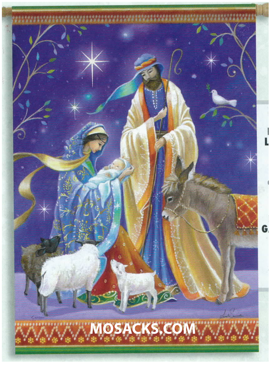 Flagtrends by Carson Holy Family Christmas Flag 13x18 Inch Double Sided Christmas Garden Nativity Flag 480-45471