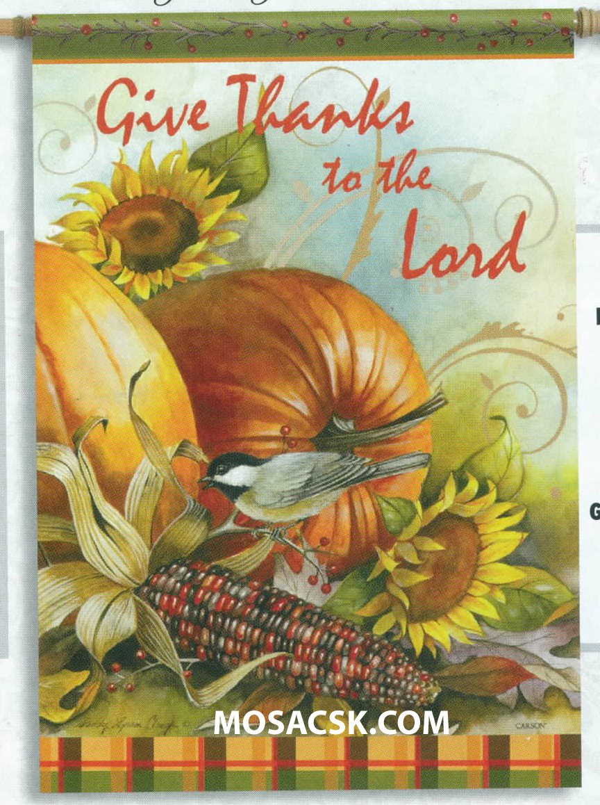 Flagtrends by Carson Give Thanks To The Lord 13x18 Inch Double Sided Thanksgiving Garden Flag 480-46066