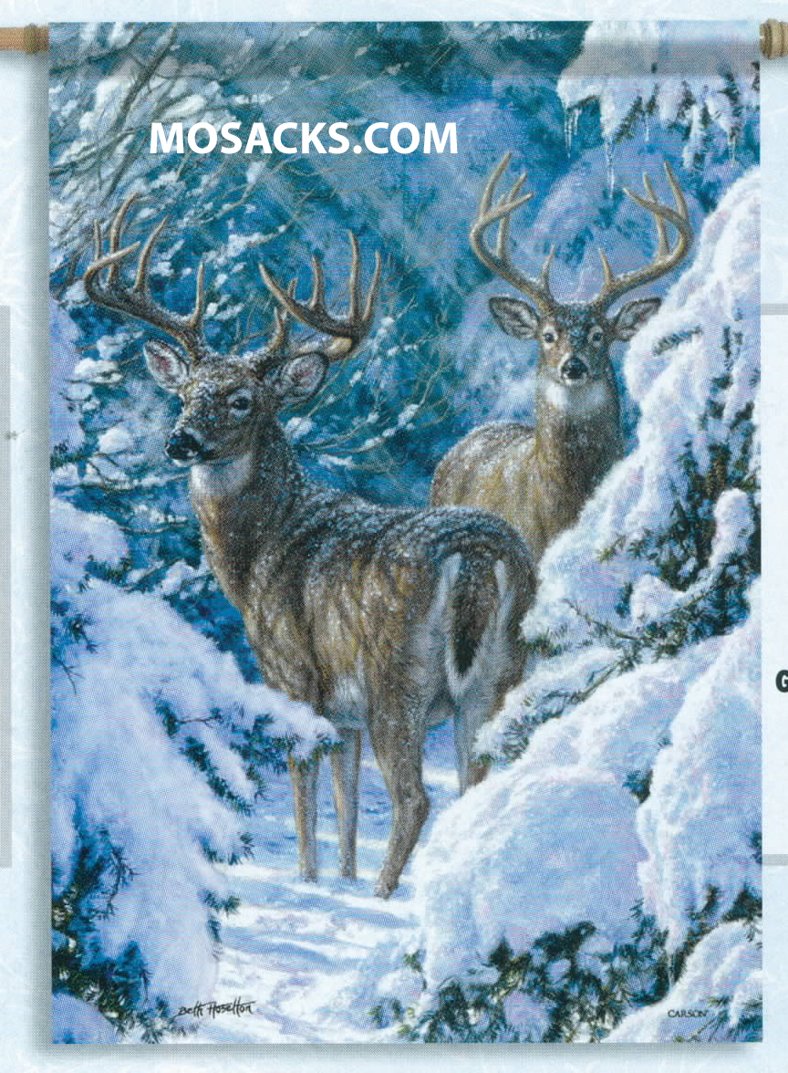 Flagtrends by Carson Winter Sentinels 13x18 Inch Double Sided Garden Flag 480-45738 Winter Sentinels Flag - Flag of Two majestic deer with magnificent antlers amongst the snow laden evergreens