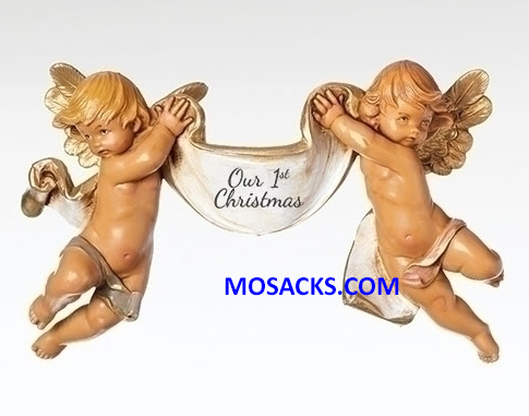 "Fontanini 110th Anniversary 3.5"" Cherubs With Our 1st Christmas Banner-58456"