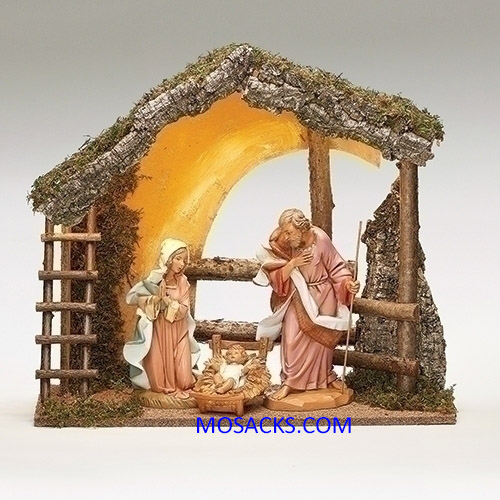 "Fontanini 12"" 3 piece Nativity Set with LED Italian Stable-54910"