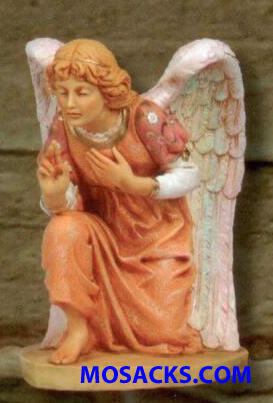 "Fontanini Nativity 27"" Masterpiece Angel Kneeling Angel Pink Gown #53118"