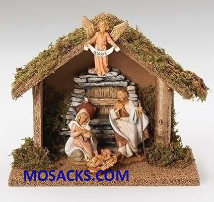 Fontanini 3.5 Inch Nativity 4 Piece Set with Italian Stable 20-55061