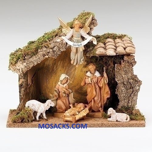 "Fontanini 5"" 6-Piece Nativity Set with Italian Stable-54425"