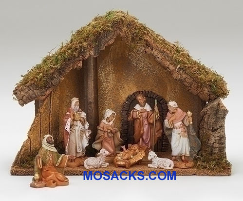 "Fontanini 5"" 8-Piece Nativity Set with Italian Stable20-54428"