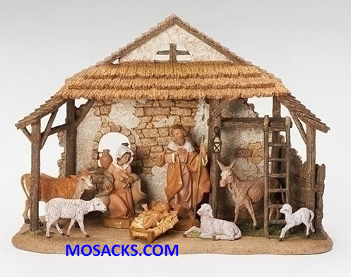 Fontanini Nativity 5 Inch 8 piece Nativity Set with Resin Stable 20-54462