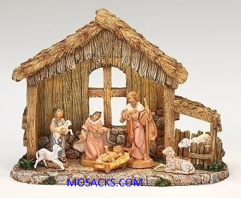 "Fontanini 5"" Heirloom Nativity 7 Piece Nativity Set with LED Resin Stable-54459"