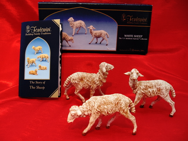 Fontanini 7.5 Inch White Sheep 3 Pc Set 52899