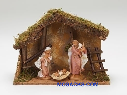 Fontanini  7.5 Inch 3 Piece Nativity Set With Italian Stable-54869