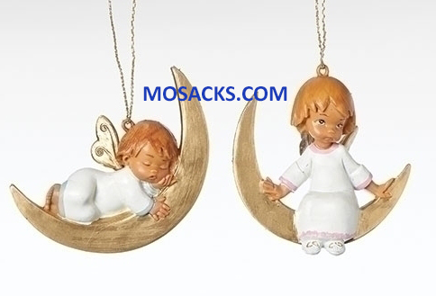 Fontanini Angel on Moon Ornament 2 Piece Set-56630 RETIRED